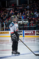 KELOWNA, CANADA - FEBRUARY 2: The Pepsi Save On Foods player of the game lines up at the Kelowna Rockets against the Lethbridge Hurricanes on February 2, 2016 at Prospera Place in Kelowna, British Columbia, Canada.  (Photo by Marissa Baecker/Shoot the Breeze)  *** Local Caption *** Pepsi Save On Foods player