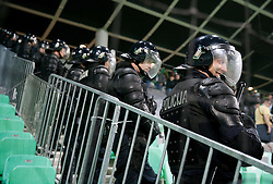 Police when Green Dragons, supporters of Olimpija celebrate 25th Anniversary during football match between NK Olimpija Ljubljana and NK Celje in 14th Round of Prva Liga Telekom Slovenije 2013/14, on October 19, 2013 in SRC Stozice, Ljubljana, Slovenia. (Photo by Vid Ponikvar / Sportida)