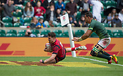 """Twickenham, Surrey United Kingdom. Wales, Owen JENKINS, touhing down during the Pool A game at the """"2017 HSBC London Rugby Sevens"""",  Saturday 20/05/2017 RFU. Twickenham Stadium, England    <br /> <br /> [Mandatory Credit Peter SPURRIER/Intersport Images]"""