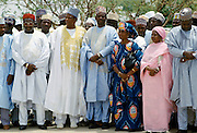 Nigerian men and women attending tribal gathering durbar cultural event at Maiduguri in Nigeria, West Africa