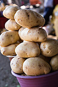 Fresh potatos at Benito Juarez market in Oaxaca, Mexico.