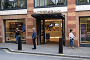 People outside the Conran shop Marylebone High Street on 10th August 2021 in London, United Kingdom. Marylebone High Street is a grand and upmarket shopping street in London.