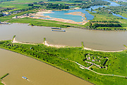 Nederland, Gelderland, Gemeente Lingewaard, 29=0502019; de Pannerdensche Kop. De Rijn splitst zich hier in Waal en Pannerdensch Kanaal. Op de landtong Fort Pannerden, onderdeel van de Nieuwe Hollandse Waterlinie. <br /> The Rhine bifurcates into river Waal and Pannerdensch Channel. The former Fort Pannerden is located about halfway between the headland.<br /> <br /> luchtfoto (toeslag op standard tarieven);<br /> aerial photo (additional fee required);<br /> copyright foto/photo Siebe Swart