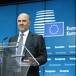 22 June 2015 - Belgium - Brussels -  Pierre Moscovici , European Commisioner for<br /> Economic and Financial Affairs, Taxation and Customs during his closing press conference about the Greek financial situation  © Fotogloria / Scorpix / Patrick Mascart