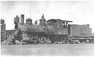 """RGS 2-8-0 #10 in deadline at Alamosa.<br /> RGS  Alamosa, CO  Taken by Perry, Otto C. - 6/6/1923<br /> In book """"RGS Story, The Vol. XII: Locomotives and Rolling Stock"""" page 25"""