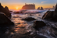 Breaking waves and sunset, Ruby Beach, Olympic National Park, Washington