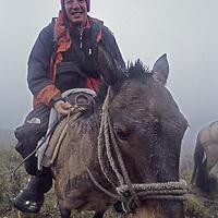 Photographer Gordon Wiltsie rides rides a sturdy mule in a fogbank high in the Cordillera Central, Amazonas District, Peru.