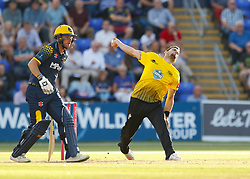 Gloucestershire's Benny Howell bowels to Glamorgan's Graham Wagg<br /> <br /> Photographer Simon King/Replay Images<br /> <br /> Vitality Blast T20 - Round 8 - Glamorgan v Gloucestershire - Friday 3rd August 2018 - Sophia Gardens - Cardiff<br /> <br /> World Copyright © Replay Images . All rights reserved. info@replayimages.co.uk - http://replayimages.co.uk