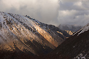 View of the mountains under cloudy sky of Refugio Frey in Bariloche, Argentina
