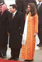 Prince Abdallah (or Abdullah) and wife Rania receive King Hussein at Amman airport, Jordan on January 19, 1999. Twenty years ago, end of January and early February 1999, the Kingdom of Jordan witnessed a change of power as the late King Hussein came back from the United States of America to change his Crown Prince, only two weeks before he passed away. Photo by Balkis Press/ABACAPRESS.COM