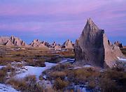 Badlands at dawn, Badlands National Park, South Dakota.