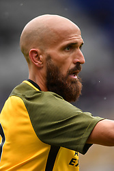 """Brighton & Hove Albion's captain Bruno Saltor during the pre-season friendly match at the St Andrew's Trillion Trophy Stadium, Birmingham. PRESS ASSOCIATION Photo. Picture date: Saturday July 28, 2018. See PA story SOCCER Birmingham. Photo credit should read: Anthony Devlin/PA Wire. RESTRICTIONS: EDITORIAL USE ONLY No use with unauthorised audio, video, data, fixture lists, club/league logos or """"live"""" services. Online in-match use limited to 75 images, no video emulation. No use in betting, games or single club/league/player publications."""