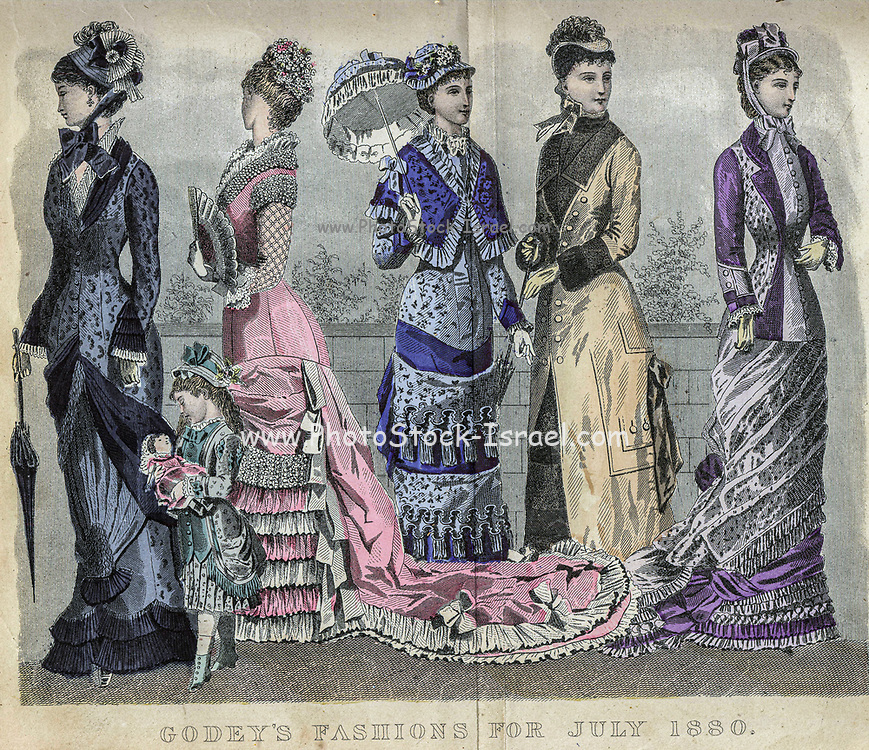 Colour drawing of Godey's women's Fashion for July 1880 from Godey's Lady's Book and Magazine, 1880 Philadelphia, Louis A. Godey, Sarah Josepha Hale,
