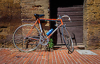 SAN GIMIGNANO, ITALY - CIRCA MAY 2015:  Italian bicycle in the old town of  San Gimignano in Tuscany