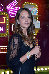 Alicia Vikander attending a ribbon cutting ceremony of a Bulgari pop-up store at the Galleries Lafayette department store as part of 2017/18 Fall Winter Haute Couture Fashionweek in Paris, France on July 04, 2017. Photo by Aurore Marechal/ABACAPRESS.COM
