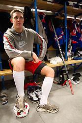 Ziga Kuzman in wardrobe prior to the Practice session of Slovenian U20 ice-hockey team, on December 08, 2011 in Ledena dvorana, Bled, Slovenia. (Photo By Vid Ponikvar / Sportida.com)