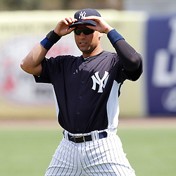 March 2, 2011; Tampa, FL, USA;New York Yankees shortstop Derek Jeter (2) before a spring training exhibition game against the Houston Astros at George M. Steinbrenner Field. Mandatory Credit: Derick E. Hingle-US PRESSWIRE