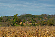 Distant view of Frank Lloyd Wright's Taliesin, the house where he lived while teaching architecture students. Iowa County, near Spring Green, Wisconsin, USA.