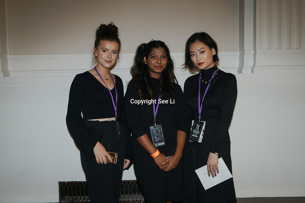 London, England, UK. 18th September 2017.  Backstage of IRYNVIGRE showcases is latest collection at Fashion Scout SS18 Day 4 at Freemason Hall.