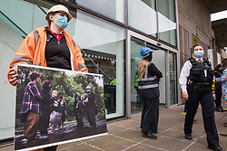 Anti-HS2 activists dressed as HS2 enforcement agents and HS2 workers take part in a HS2 Chainsaw Massacre protest outside the Among The Trees exhibition at the Hayward Gallery on 30 October 2020 in London, United Kingdom. The protest was intended to highlight both the daily environmental destruction being wrought for the controversial HS2 high-speed rail project and instances of violence and brutality by security guards and bailiffs working on behalf of HS2 Ltd.