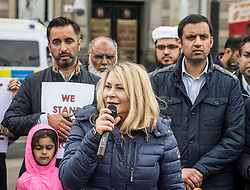 Muslims Stand Against Terrorism held a rally in George Square, Glasgow in condemnation of the terror attacks in Manchester and London. MSP Pauline McNeill was one of the speakers, who is pictured with fellow MSP Anas Sarwar and human rights campaigner Aamer Anwar in the background.<br /> <br /> © Dave Johnston/ EEm