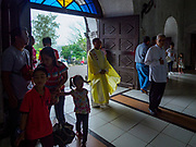 21 JANUARY 2018 - LEGAZPI, ALBAY, PHILIPPINES: The start of Sunday mass at Our Lady of the Gate Parish in Legazpi. The church, built in 1773, was known by its Spanish name, Parroquia Nuestra Señora de la Porteria, before the American colonization of the Philippines.     PHOTO BY JACK KURTZ