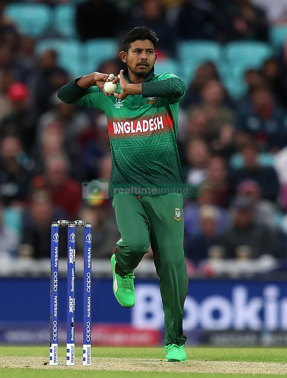 Bangladesh's Mosaddek Hossain bowls during the ICC Cricket World Cup group stage match at The Oval, London.
