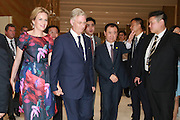 WUHAN, CHINA - JUNE 22: (CHINA OUT) <br /> <br /> King Philippe of Belgium Visits China<br /> <br /> King Philippe (L2) and Queen Mathilde (L) of Belgium and Wang Jianlin (R3), chairman of Wanda Group, visit the Han Show theater co-created by Wanda Group and Dragone that whose stage performance exceeds the level of any performance in the world on June 22, 2015 in Wuhan, Hubei Province of China. King Philippe of Belgium is on his visit to China with Queen Mathilde from June 21 to June 27. <br /> ©Exclusivepix Media