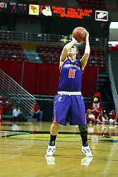 01 January 2012: Jordan Lewis takes a free throw during an NCAA women's basketball game between the Evansville Purple Aces and the Illinois Sate Redbirds at Redbird Arena in Normal IL