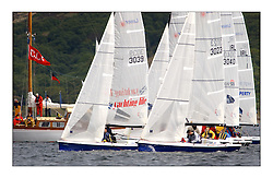 Yachting- The first days inshore racing  of the Bell Lawrie Scottish series 2003 at Tarbert Loch Fyne.  Light shifty winds dominated the racing...Sandy McPhail leads the SB3 fleet at the start...Pics Marc Turner / PFM