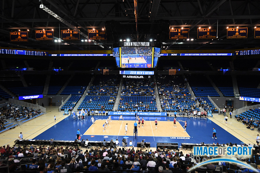 General overall view of Pauley Pavilion during the opening round game of the NCAA college volleyball championship between the Harvard Crimson and the UCLA Bruins  in Los Angeles, Tuesday, May 1, 2018. UCLA defeated Harvard 23-25, 25-21, 25-11, 25-21.