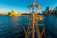 """View of the Sydney Opera House from the mast of the tall ship """"Southern Swan"""", Sydney, New South Wales, Australia"""