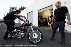 Jeff Leighton and Dave Polgreen's The Wretched Hive shop just before the start of the Born Free 9 Motorcycle Show. Santa Ana, CA. USA. Wednesday June 21, 2017. Photography ©2017 Michael Lichter.