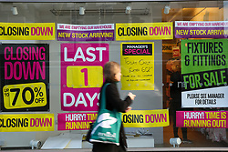 © Licensed to London News Pictures. 09/01/2020. London, UK. A member of public walks past a branch of mother and baby retailer, Mothercare, in Wood Green, north London which is to close in one day. All 79 Mothercare stores are set to close by Sunday 12 January 2020 - putting 2,500 people out of work after the company went into administration last year. Photo credit: Dinendra Haria/LNP