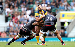 Ben Te'o of Worcester Warriors is tackled by Schalk Burger and Juan Figallo of Saracens - Mandatory by-line: Robbie Stephenson/JMP - 03/09/2016 - RUGBY - Twickenham - London, England - Saracens v Worcester Warriors - Aviva Premiership London Double Header