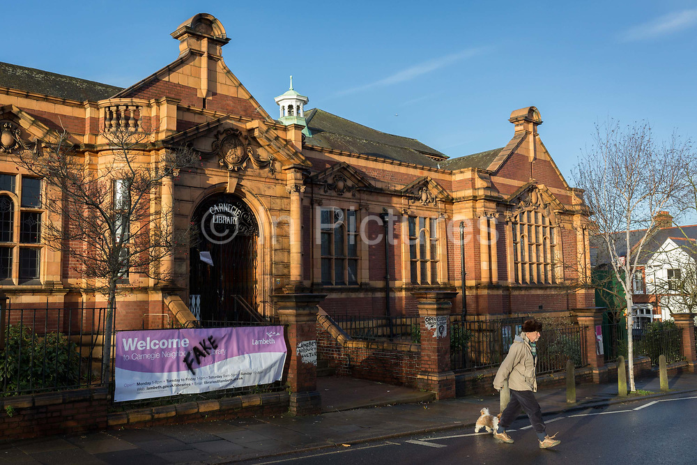 Exterior of the Carnegie Library on Herne Hill in south London which re-opens for the first time in almost 2 years, on 15th February 2018, in London, England. Closed by Lambeth council and occupied by protesters for 10 days in 2016, the library bequeathed by US philanthropist Andrew Carnegie has been locked ever since because, say Lambeth austerity cuts are necessary. A gym that locals say they dont want or need has been installed in the listed basement and actual library space a fraction as before and its believed no qualified librarians will be present to administer it. Protesters also believe this community building will ultimately sold off by Lambeth council for luxury homes.