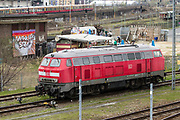 A DB Class 218 locomotive parked on the tracks in Berlin, Germany, April 09, 2012.