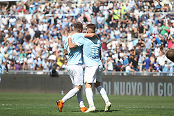 April 22, 2018 - Rome, Lazio, Italy - Sergej Milinkovic and Ciro Immobile celebrating the gol of 1-0.With two goal per time SS Lazio beat Sampdoria 4-0 (32'  Sergej Milinkovic, 43'  Stefan De Vrij, 85' Ciro Immobile, 88 Ciro Immobile) and make a step ahead for the fight for third place in Italian Serie A (Credit Image: © Paolo Pizzi/Pacific Press via ZUMA Wire)