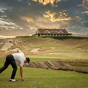 South Carolina Gamecocks golfer Caleb Proveux gets ready to tee off at Bulls Bay in Charleston. ©Travis Bell Photography