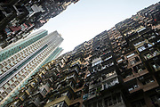 Private residential skyscrapers stand on the backdrop of public housing built in the 1960s stands in Quarry Bay, Hong Kong SAR on March 29th, 2019. Photo by Suzanne Lee/PANOS for Los Angeles Times
