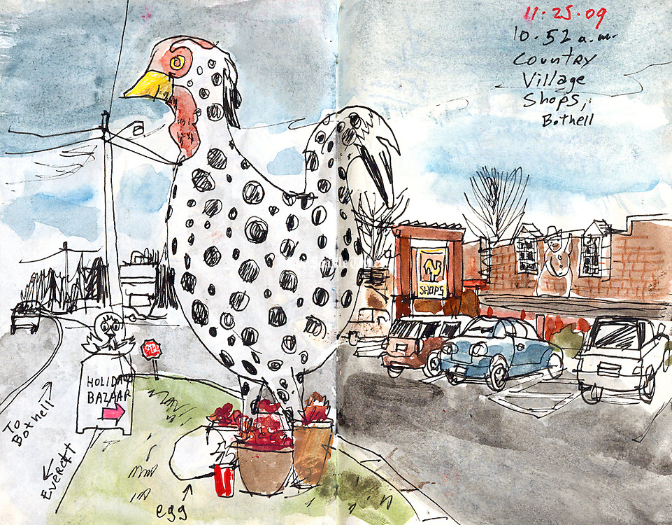 Bothell Country Village Shops.<br /> Gabriel Campanario / The Seattle Times<br /> <br /> REPRODUCTION INCLUDES SEAM OF SKETCHBOOK