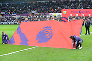 The Premier League flag displayed before kick off. Premier league match, Swansea city v Burnley at the Liberty Stadium in Swansea, South Wales on Saturday 4th March 2017.<br /> pic by  Carl Robertson, Andrew Orchard sports photography.