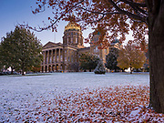 29 OCTOBER 2019 - DES MOINES, IOWA: The Iowa State Capitol with a dusting of snow in front of it Tuesday morning. An unseasonably early dusting of snow, less than 1 inch, blanketed the Des Moines area Tuesday morning. The snow did not accumulate on roads or sidewalks. Des Moines normally gets its first accumulation of snow in mid-November. More snow is expected later this week.             PHOTO BY JACK KURTZ
