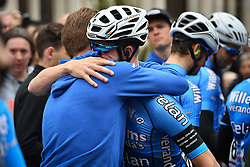 April 11, 2018 - Leuven, BELGIUM - Belgian Stijn Devolder of Verandas Willems - Crelan and Belgian Zico Waeytens of Verandas Willems - Crelan pictured at a tribute to the 23 year old cyclist Michael Goolaerts who died after a crash in the Paris-Roubaix race on Sunday 8 April, at the start of the 58th edition of the 'Brabantse Pijl' one day cycling race, 201,9 km from Heverlee, Leuven to Overijse, Wednesday 11 April 2018. BELGA PHOTO DAVID STOCKMAN (Credit Image: © David Stockman/Belga via ZUMA Press)