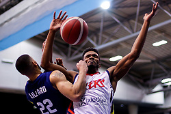 Marcus Delpeche of Bristol Flyers is challenged by Antwon Lillard of Sheffield Sharks - Photo mandatory by-line: Robbie Stephenson/JMP - 13/12/2020 - BASKETBALL - Ponds Forge Sports Centre - Sheffield, England - Sheffield Sharks v Bristol Flyers - British Basketball League Championship