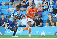 Blackpool's Nathan Delfouneso under pressure from Wycombe Wanderers' Paris Cowan-Hall<br /> <br /> Photographer Kevin Barnes/CameraSport<br /> <br /> The EFL Sky Bet League One - Wycombe Wanderers v Blackpool - Saturday 4th August 2018 - Adams Park - Wycombe<br /> <br /> World Copyright © 2018 CameraSport. All rights reserved. 43 Linden Ave. Countesthorpe. Leicester. England. LE8 5PG - Tel: +44 (0) 116 277 4147 - admin@camerasport.com - www.camerasport.com