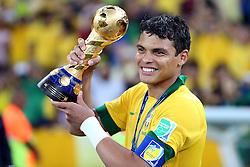Thiago Silva, capitão do do Brasil na partida contra a Espanha, válida pela final da Confederações 2013, no estádio Maracanã, no Rio de Janeiro. FOTO: Jefferson Bernardes/Preview.com