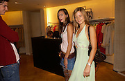 Zara Simon and Jessica Simon ( green), Burberry party to launch collection in  support of Breakthrough Breast Cancer. New Bond St. shop. Londddon. 5 October 22004. ONE TIME USE ONLY - DO NOT ARCHIVE  © Copyright Photograph by Dafydd Jones 66 Stockwell Park Rd. London SW9 0DA Tel 020 7733 0108 www.dafjones.com