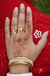 Hand decorated with henna and jewellery at the Nottingham Mela,