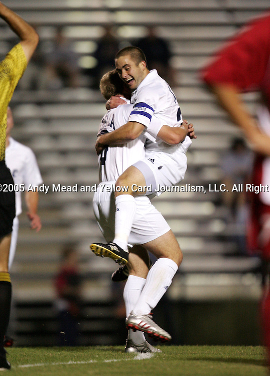 Duke's Danny Kramer (r) celebrates his goal at 8:09 with teammate Mike Grella (l) on Friday, October 21st, 2005 at Koskinen Stadium in Durham, North Carolina. The Duke University Blue Devils defeated the North Carolina State University Wolfpack 6-0 during an NCAA Division I Men's Soccer game.
